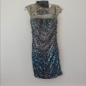 Sequined and Crystal Blue Party Dress